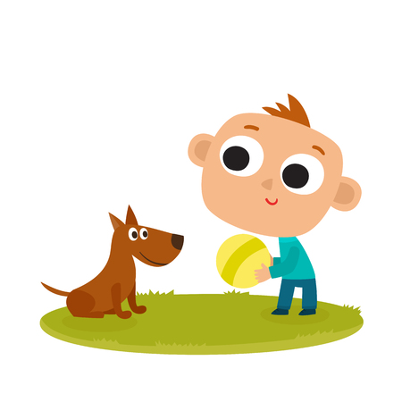 Boy playing with dog, cartoon vector illustration isolated on white background. Kid and dog riendship, fun activity with ball, outdoor leisure time. Stock Photo