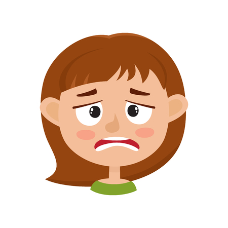 Little girl upset face expression, cartoon vector illustrations isolated on white background. Kid emotion face icons, facial expressions.