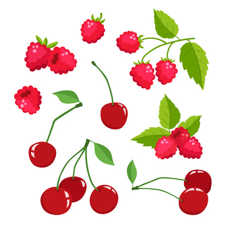 Set of cartoon raspberries and cherries with green leaves isolated on white background. Bright berries branch. Cute illustration used for magazine or book, poster and card design, menu cover, web pages.
