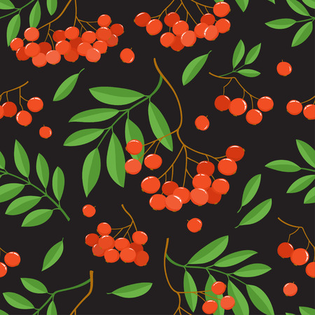 Branch of ashberries isolated on black. Seamless pattern with color mountain ashes. Bright berries branches.
