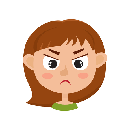 Little girl angry face expression, cartoon vector illustrations isolated on white background. Kid emotion face icons, facial expressions.