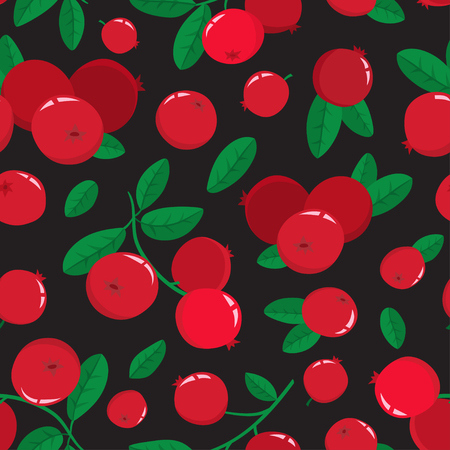 Vector seamless pattern with cartoon cranberries with green leaves isolated on black background. Bright berries branch. Cute illustration used for magazine or book, poster and card, menu cover, web pages.