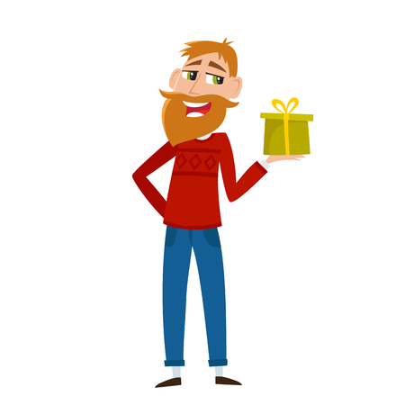 Geeky hipster with beard in red sweater offering christmas gift in cartoon style Illustration