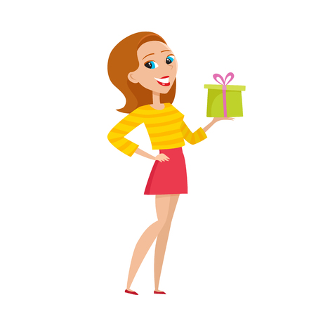 Stylish hipster girl offering christmas gift in cartoon style on white background.
