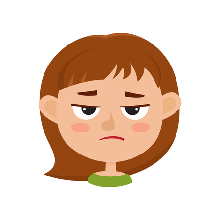 Little girl angry face expression, set of cartoon vector illustrations