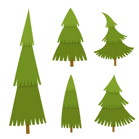 Set of christmas tree in cartoon style