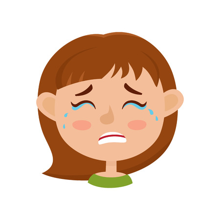 Little girl crying face expression, cartoon vector illustrations Illustration