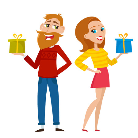 Geeky hipster with beard in red sweater offering christmas gift and girlfriend in cartoon style