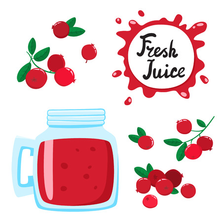 Juice with cranberries in a glass bank, vector cartoon card