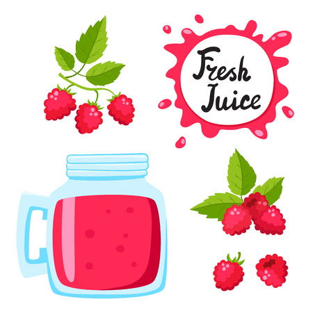 Juice with raspberry in a glass bank, vector cartoon card