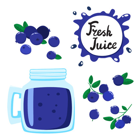 Juice with blueberry in a glass bank, vector cartoon card Illustration