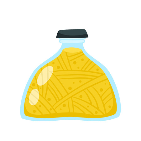 Preserved food in jars and cans. Glass jar with abstract yellow vegetables, isolated icon on a white background. Cartoon vector illustration. Ilustração