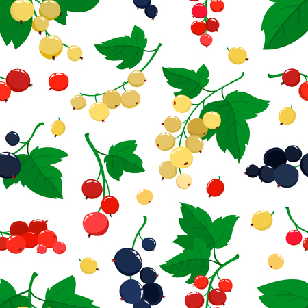 Vector seamless pattern with cartoon currant berries with green leaves isolated on white background. Bright berries branch. Illustration used for magazine, book, poster, card, menu cover, web pages.