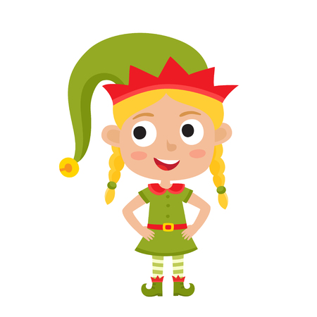 Cute little Christmas girl elf smiling, vector illustration isolated on white used for magazine or book, poster and card, web pages.