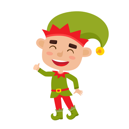 Cute little Christmas boy elf smiling, vector illustration isolated on white used for magazine or book, poster and card, web pages. Illustration