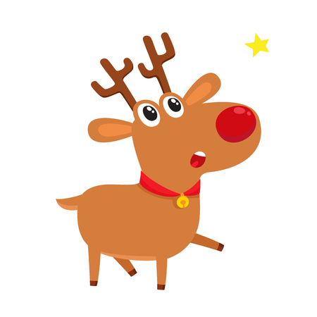 Cute cartoon reindeer with red nose, surprised facial expression, vector illustrations isolated on white background. Deer shocked, amazed, astonished. Surprised face expression