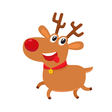 Cute cartoon reindeer with red nose, surprised facial expression, cartoon vector illustrations isolated on white background. Deer emoji face smile, white teeth. Happy, glad, smiling face expression Illustration