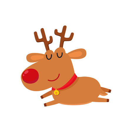 Cute cartoon reindeer with red nose sleep, cartoon vector illustrations isolated on white background. Little deer tired.