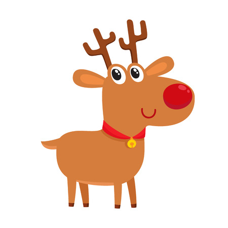 Cute cartoon reindeer with red nose, surprised facial expression, cartoon vector illustrations isolated on white background. Deer emoji face smile. Happy, glad, smiling face expression