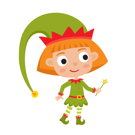 Cute little Christmas girl elf smiling and standing Illustration