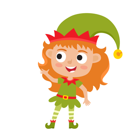 Cute little Christmas girl elf smiling and standing Stock Photo