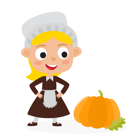 Happy thanksgiving day. Greeting card with pilgrims girl with pumpkin