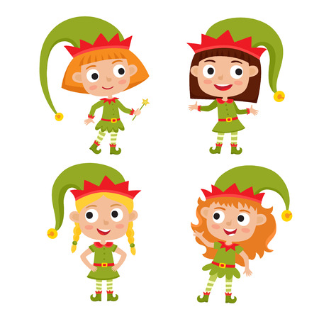 Set of cute little Christmas girls elf smiling, vector illustration isolated on white used for magazine or book, poster and card, web pages. Illustration