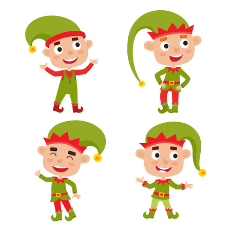 Set of cute little Christmas boys elf smiling, vector illustration isolated on white used for magazine or book, poster and card, web pages.