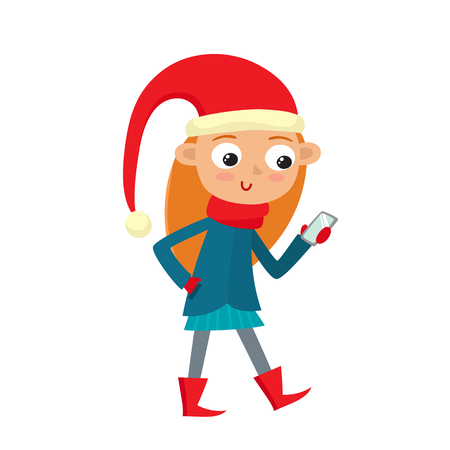 Young teenage girl is looking at her smart phones screen isolated on white. Vector illustration of hipster in santa hat in cartoon style.