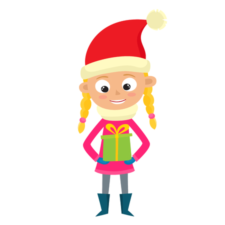 Young teenage girl is looking at gift isolated on white. Vector illustration of hipster in santa hat in cartoon style. Illustration