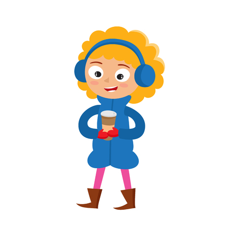Hipster girl with paper cups of coffee in cartoon style. Illustration