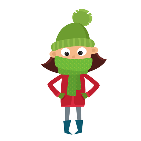 Teenage in red jacket and big green scarf, cartoon vector illustration isolated on white background. Hipster girl in pink hat and mittens, fun winter activity, outdoor leisure time.