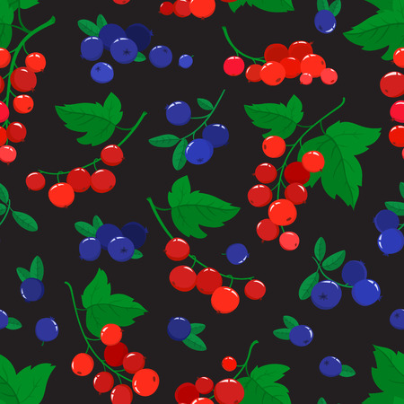 seamless pattern with cartoon blueberries and currants isolated on black.