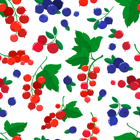 Vector seamless pattern with cartoon blueberries, cranberries and currants isolated on white.