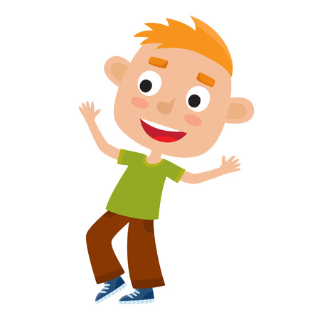 Vector cartoon illustration of little redhaired boy-dancer isolated on white