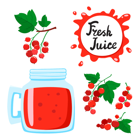 Juice with currants in a glass bank, vector cartoon card