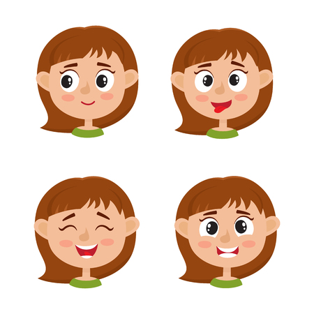 Little girl happy face expression isolated on white background.