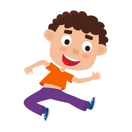 Vector cartoon illustration of little curly boy-dancer isolated on white