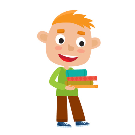 Color vector illustration of pretty boy stand with books. Stock Photo