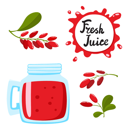 Juice with barberry in a glass bank, vector cartoon card