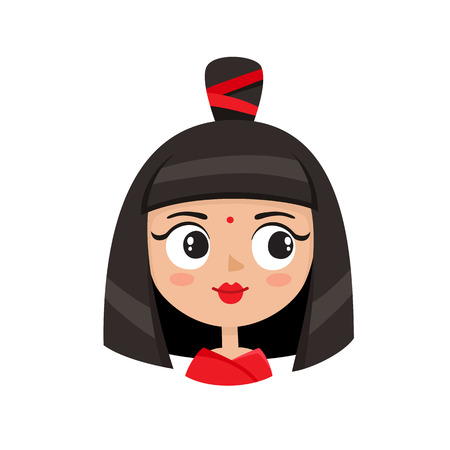 Cool female avatar. Portrait of glamorous woman with avant-garde hairstyle in cartoon style.