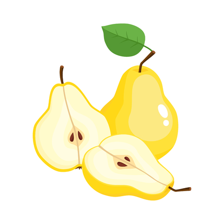 Bright vector illustration of juicy pears isolated on white.
