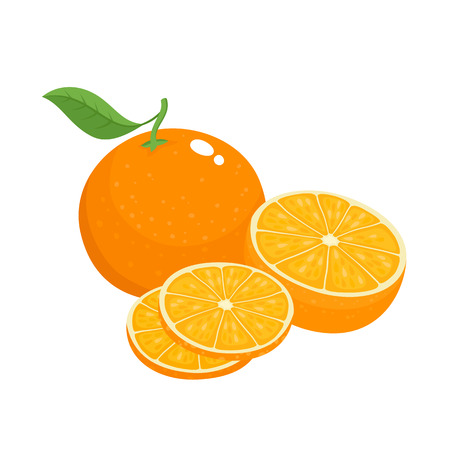 Bright vector set of colorful half, slice and segment of juicy orange. Fresh cartoon oranges on white background. Illustration
