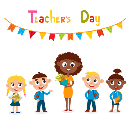 Vector illustration of happy african-american teacher with flower and pupils in cartoon style isolated on white. Happy teachers day card.