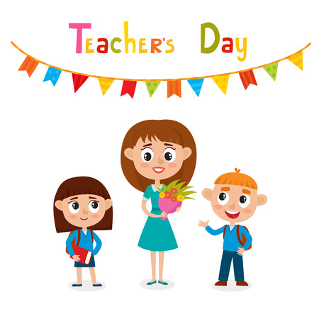 Vector illustration of happy teacher with flower and pupils in cartoon style isolated on white. Happy teachers day card.