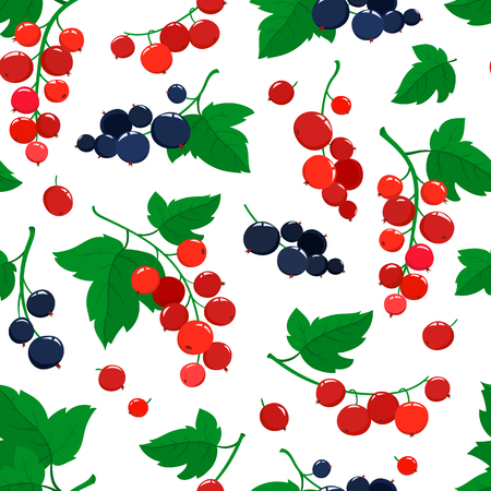 Vector seamless pattern with cartoon currant berries with green leaves