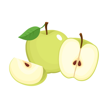 Bright vector illustration of colorful juicy apple.