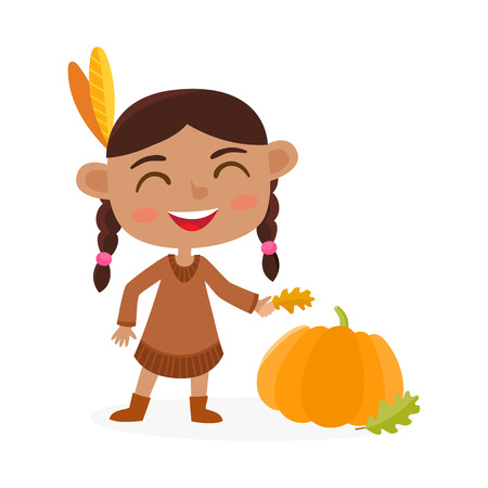Happy thanksgiving day. Greeting card with indian girl and pumpkin. Illustration