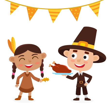 Happy thanksgiving day. Indian girl, pilgrim boy isolated on white.