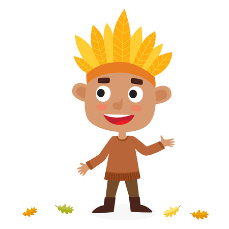 Happy thanksgiving day. Greeting card with indian boy. Cute Illustration